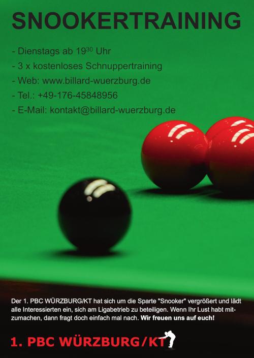 Plakat für Snookertraining in Würzburg