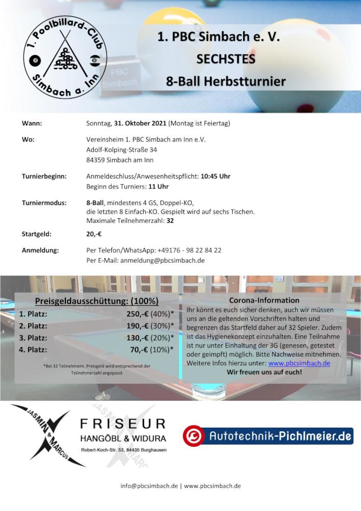 1. PBC Simbach e. V. - Sechstes 8-Ball Herbsturnier